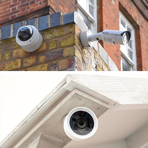 images of CCTV cameras (top) and an IP (internet protocol) camera mounted on a residential porch.