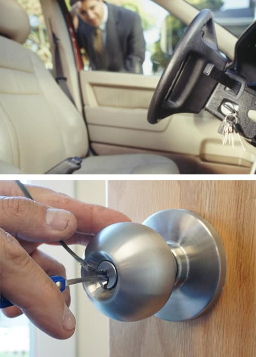 image of a man locked out of his car (top) and a locksmith picking a doorknob lock (bottom)