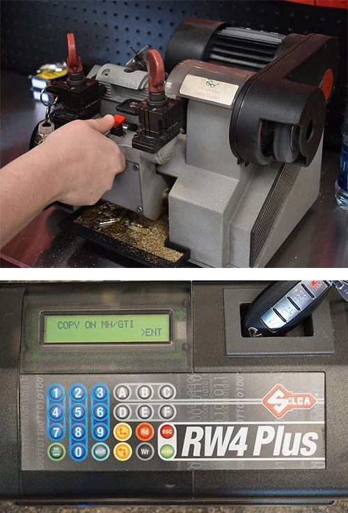 Professional Key Cutting machine and an automotive key fob being programmed.