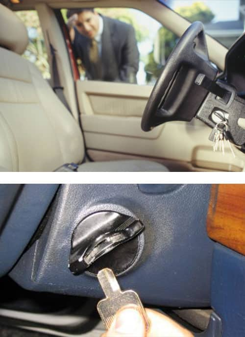 image of a man who's locked his keys in his car and an image of a key broken off in a car ignition.